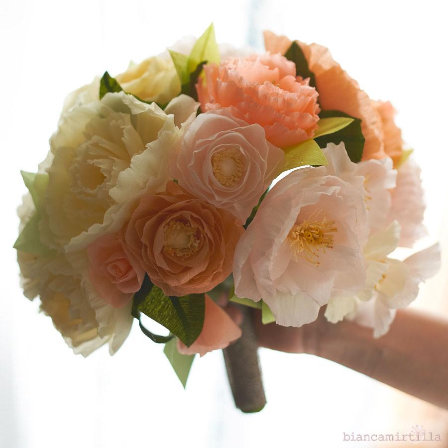 Papaveri Di Carta Crespa bouquet con i fiori di carta? matrimonio originale e creativo.