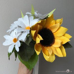Bouquet Alma girasole margherita fiori di carta idee regalo
